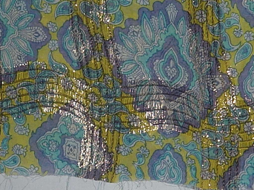 "Vintage Fabric  44"" x 6 yds semi sheer Material gold thread No. 128"