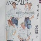 McCalls Misses and Mens shirts 9628 size small loose fitting shirts No. 60