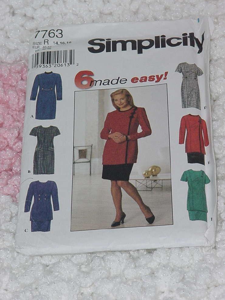 7763 Simplicity Misses Misses Petite dress tunic skirt Size R  14,16,18 Uncut No. 133