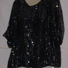 Evening blouse Iridescent sequin beaded blouse pullover Large top No. 133