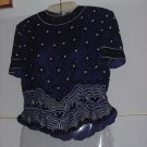 Papell Boutique Evening orchid sequin beaded blouse pullover Small top No. 133