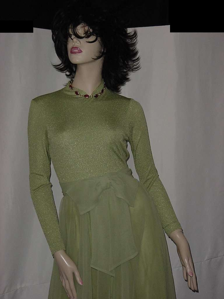 1970s vintage lime green Evening dress maxi dress stunning but flawed No. 134