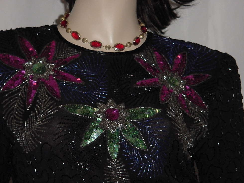 Lawrence Kazar sequined Evening blouse pullover Small top No. 133
