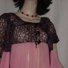 Vintage Belle Smith Creations nightgown robe peignoir Black Pink lace empire waist Medium No. 134