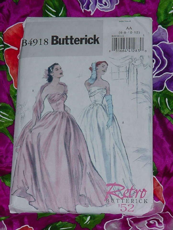 Evening gown strapless floor length dress Retro Butterick Pattern 4918 Size AA 6-12 Uncut No. 135