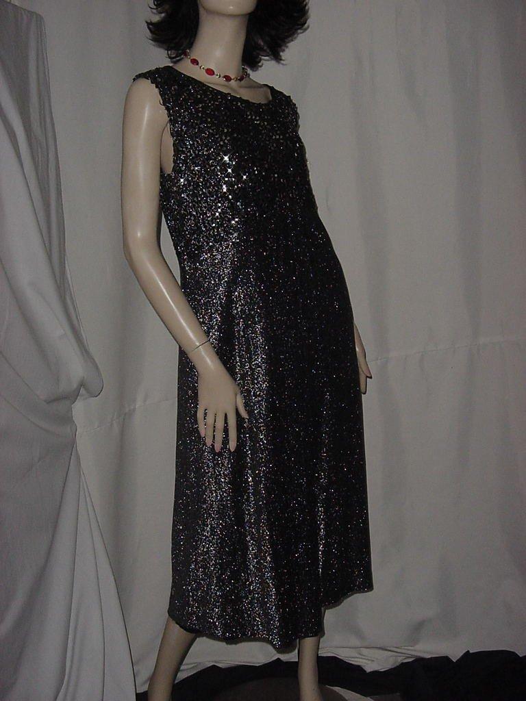 1970s Black silver dinner dress Claralura Originals semi formal dress Bust 42 No. 136
