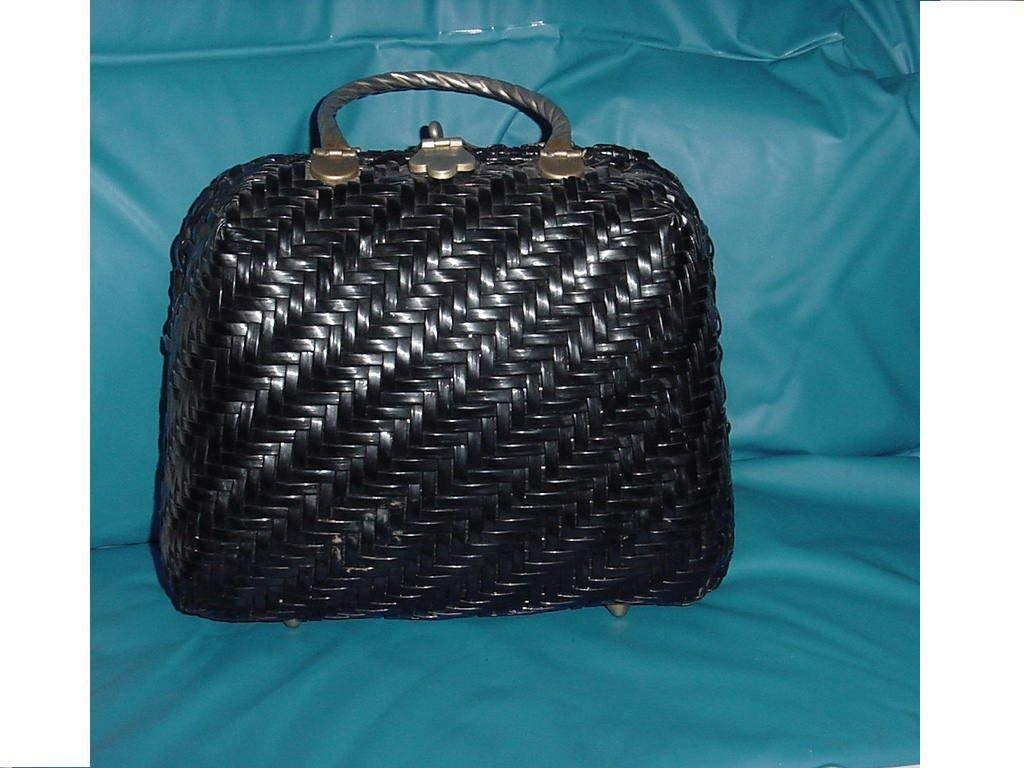 Black Vintage Wicker Purse Adoria Hand bag  No. 136