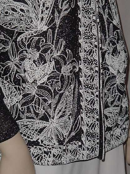 Vintage Shirt Black Silver Metallic Top Floral Butterfly Accent Vintage Evening Blouse Bust 40 #136