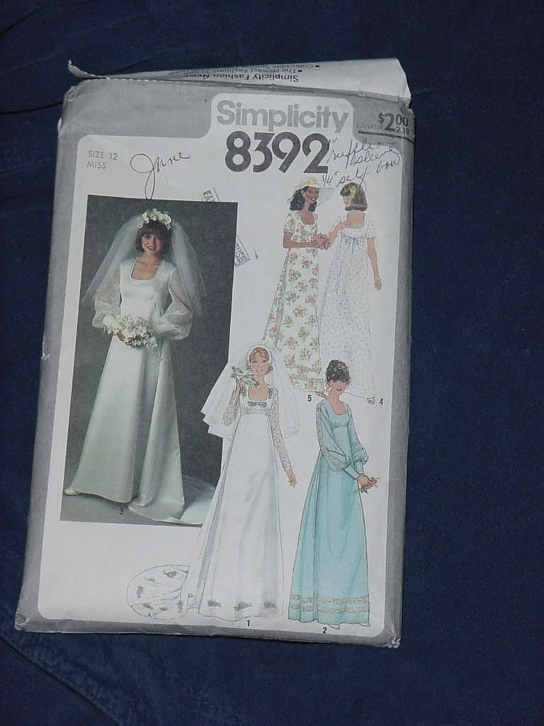 Bridal Bridesmaids Dress Wedding Size 12 Uncut 1978 wedding gown Simplicity 8392  dec 3