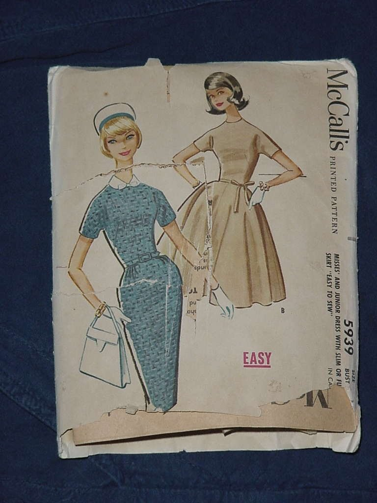 McCalls 5939 Size Misses 14 Bust 34 Dress full or slim skirt  No. 135
