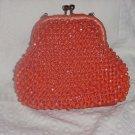 Vintage 1950s 1960s beaded purse Funky Halloween orange handbag  No. 137