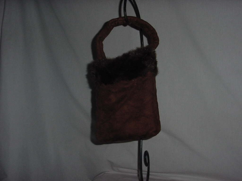 Brown Fur trimmed purse hand bag No. 138