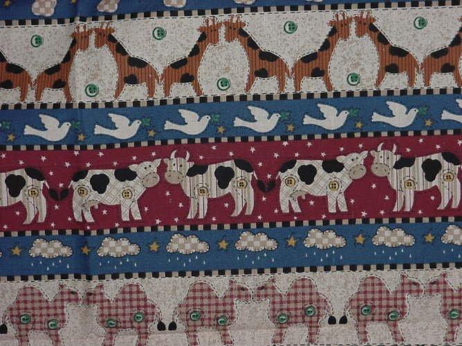 Noah's Ark Fabric Panel 36  x 37  fabric panels pillow quilt squares Animal theme  No. 141