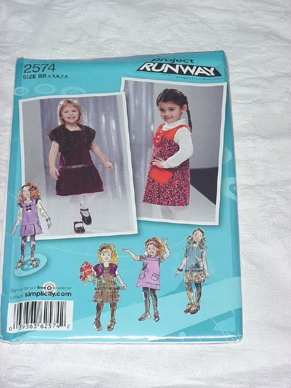 Simplicity 2574 Dress Jumper uncut Size BB, 4,5,6,7,8 Project Runway inspired No. 142