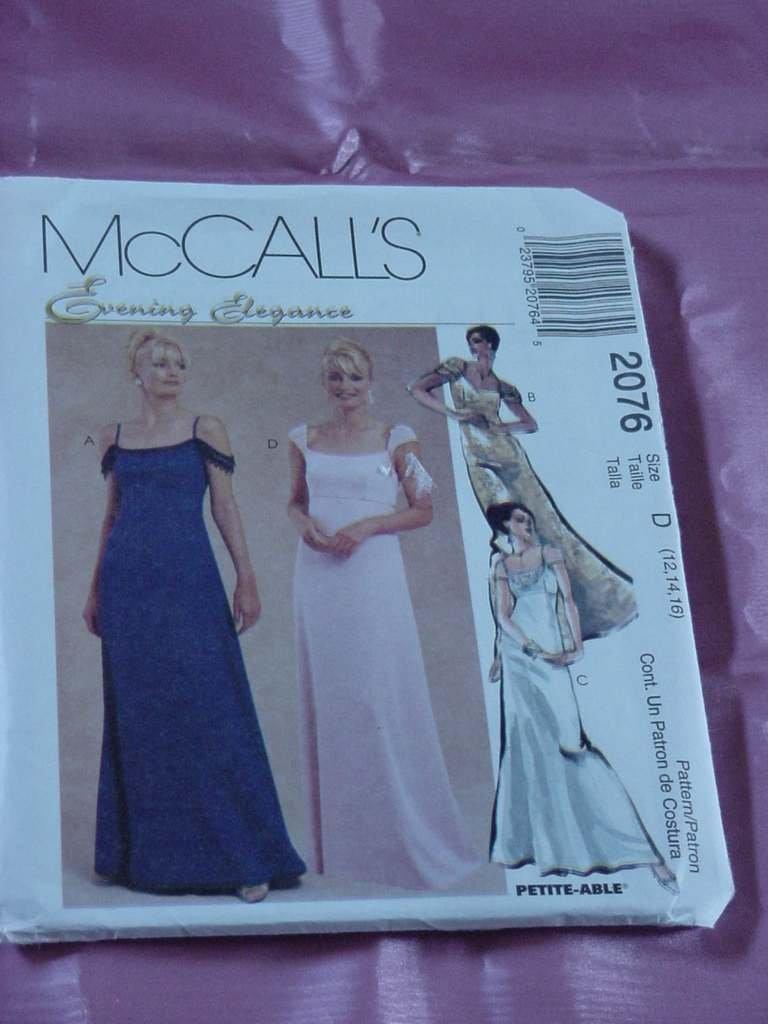 Evening Elegance McCall's 2076 gown empire waist Size 12-16 No. 142