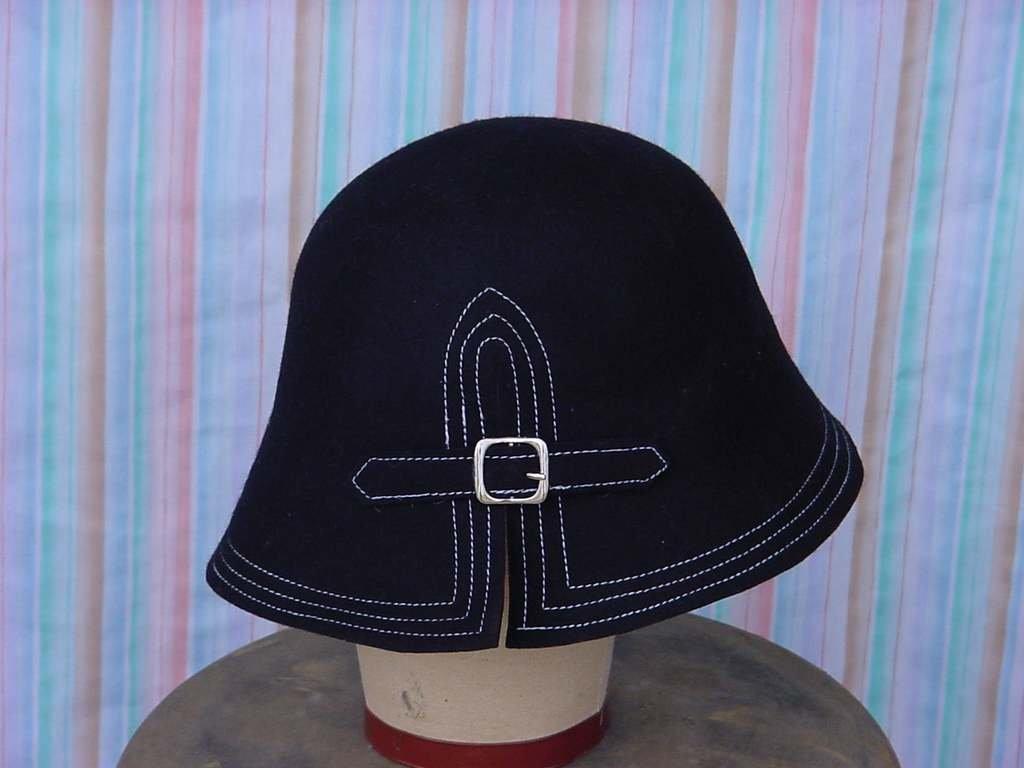 Black wool bucket hat womens winter Hat white stitch edge No. 143