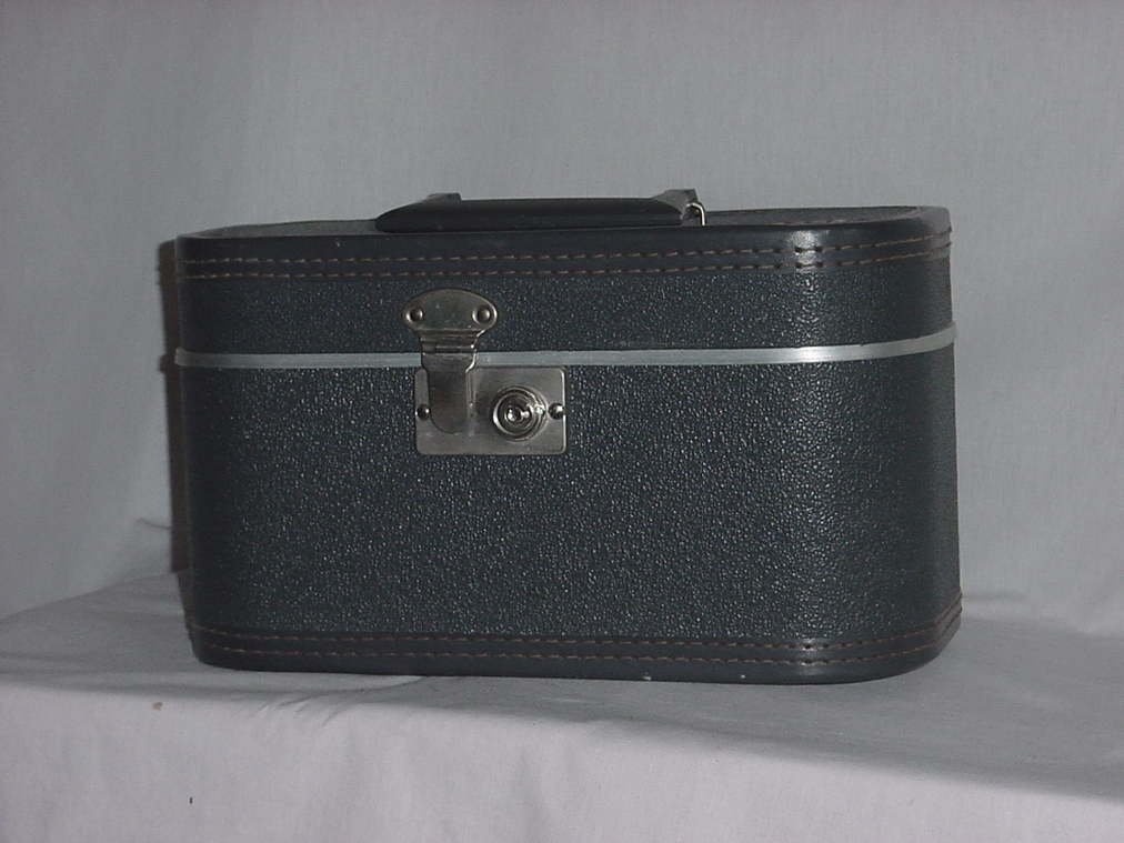 Train Case vintage gray train case Luggage Vanity traincase Cosmetic Case