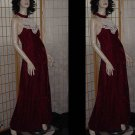 Vintage Formal Dress Red Velvet White lace yoke 1970s Evening Prom Cruise Dance Dress 143
