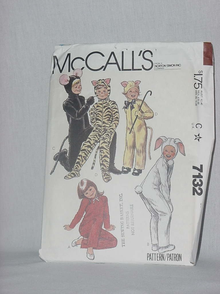 McCalls 7132 Boys Girls Animal Costumes Size 4 No. 86