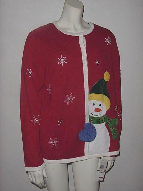 Mercer Street Winter sweater Christmas sweater Snowman Snowflakes no. 149