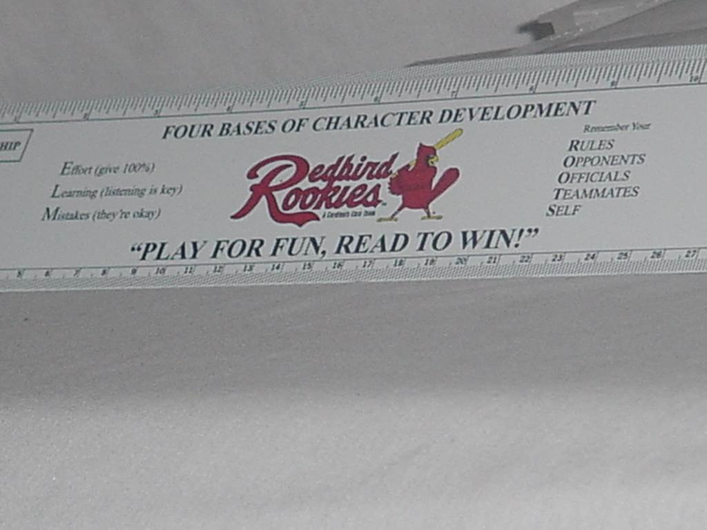 Redbird Rookies 2000 Rulers Play for Fun Read to Win Ruler Presidents to 2000 on one side