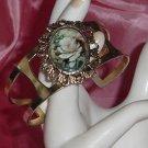Vintage Bracelet Rose cameo shape gold tone bracelet No. 28