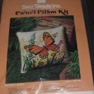 Butterfly Garden Crewel Pillow Kit Sew Simple Inc. CRP 7001 Unopened  No. 150
