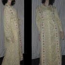 Vintage Quilted Robe Dressing Gown light yellow 1970s Floral Accents  No. 244