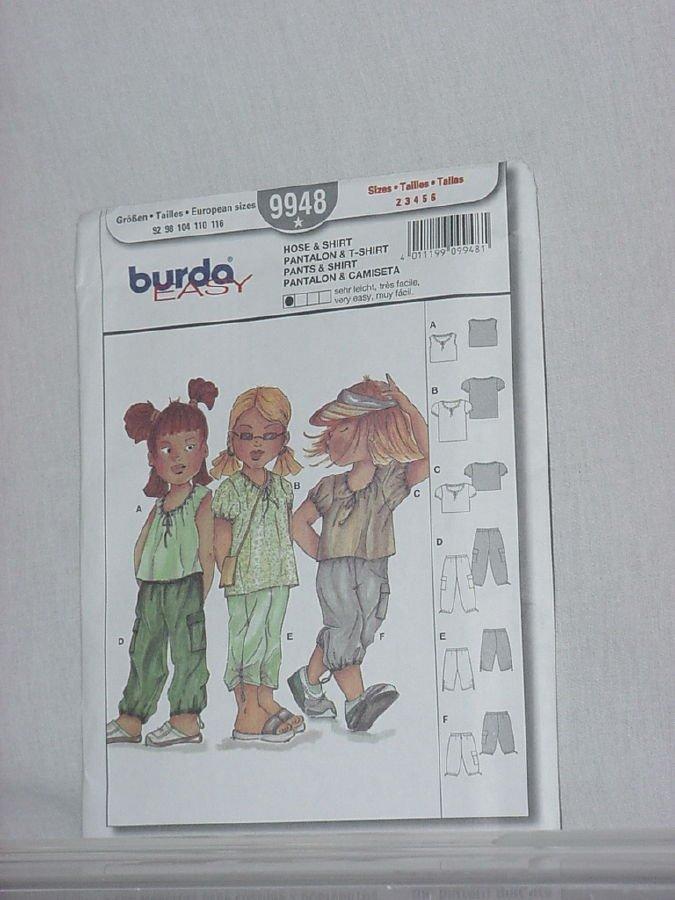 Burda 9948 Hose Shirt Pantalon T-shirt pants shirt  Uncut Pattern Child Size 2-6No. 161