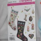 Christmas Decorations Stocking Ornaments Simplicity 2495 No. 165