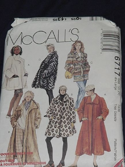 McCall's 6717 Lined Unlined Coats 3 lengths Headband Size 22 24 No. 165