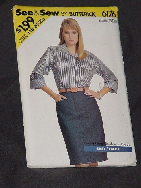 McCall's 6176 Easy Size 18-20-22 Misses' Skirt Shirt  No. 164
