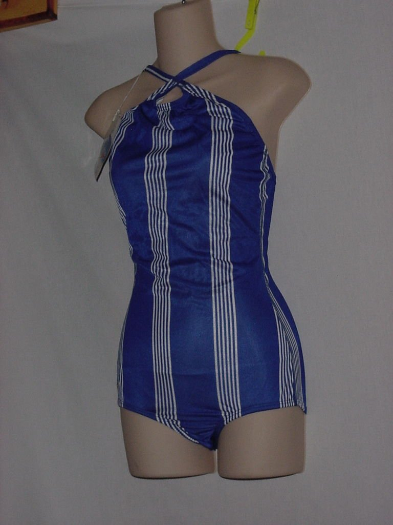 New With Tag Womens Speedo 1 piece Swim Suit Stripe Royal Blue Size 36 Swimsuit  No.  170