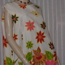 Vtg 1960s Floral Shift Dress Rosewood Fabrics Cotton Vtg Size 24 1/2 Bust 50  No. 106a