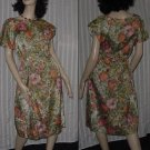 Watercolor print Sheath 1950s 1960s dress Large Bust 42  No. 170