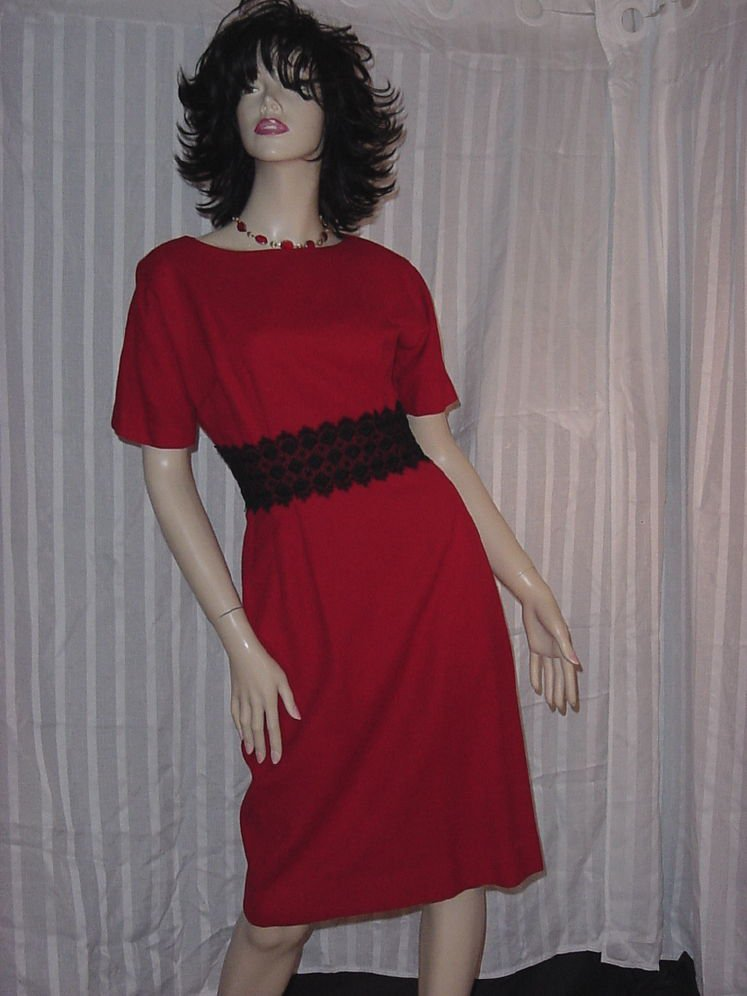 Helen Whiting Wiggle Dress Vintage red Black 1950s 1960s dress  No. 154