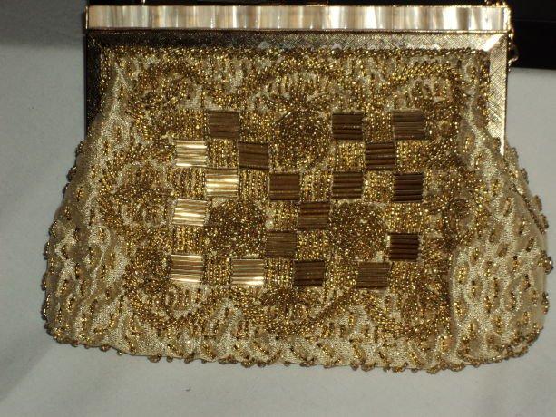 Gold Beaded evening bag evening purse Hong Kong No. 171