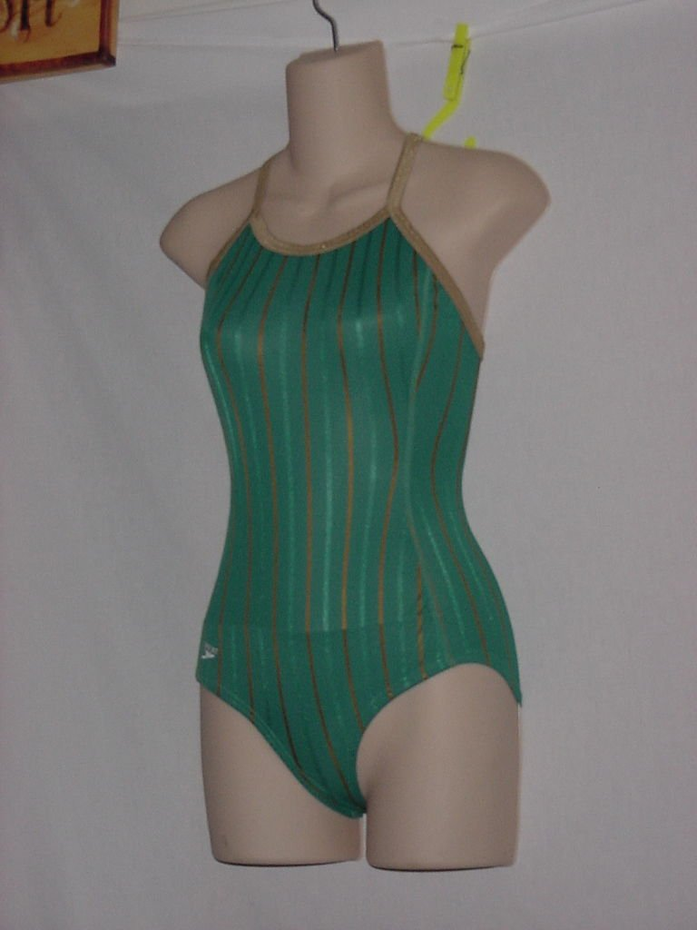 New With Tag Womens Speedo 1 piece Team Green Tan Stripe Size 30-L XB Swimsuit  No.  172