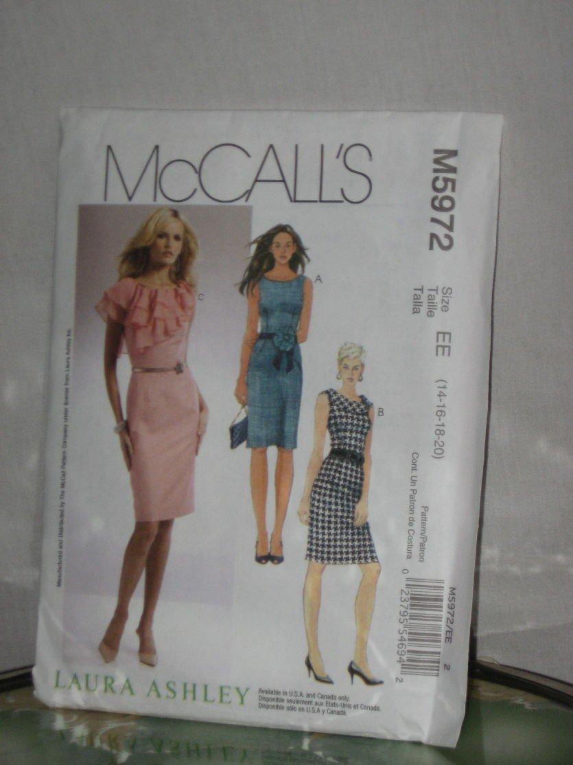McCall's Dress Pattern Laura Ashley M5972 Size EE (14-16-18-20)  174