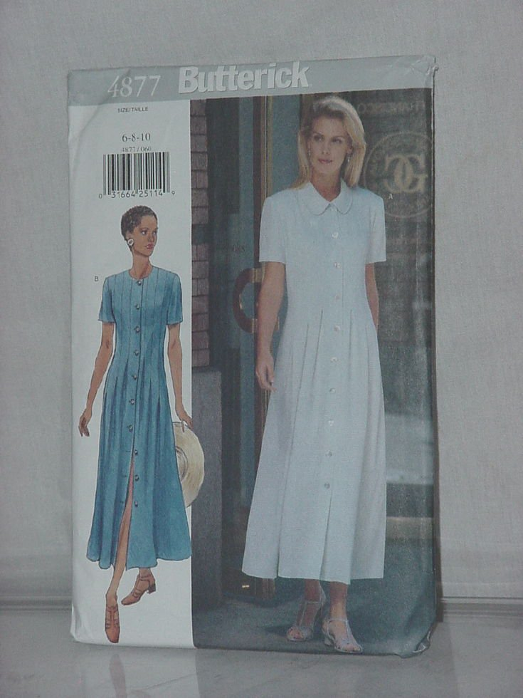 Butterick Sewing Pattern 4877 Womens size 6 8 10 A-line dress