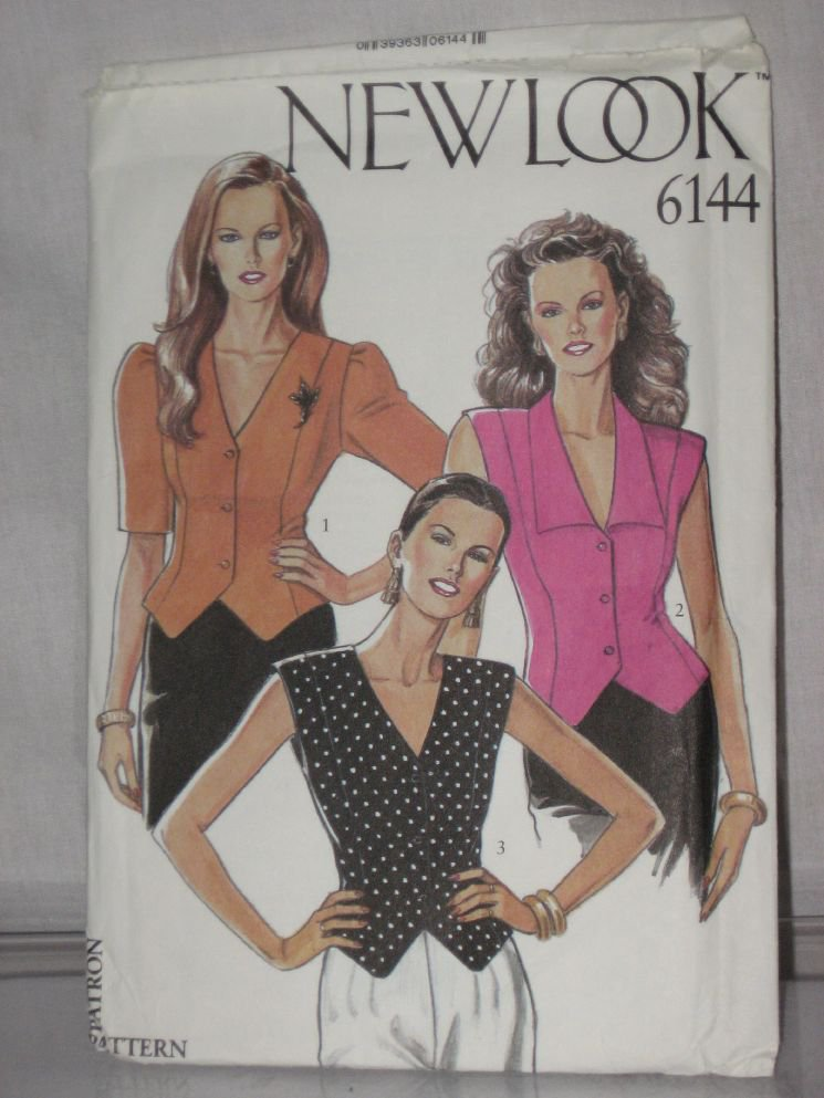 New Look Sewing Pattern 6144 Size 8-18 Blouse Vest Blouse No. 178