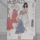 McCalls Sewing 8522 Skirts Size 12 Waist 26 1/2 No. 178