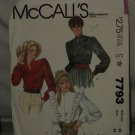 McCalls Blouse Sewing Pattern 7793 Size 12 Misses Blouse No. 183