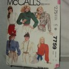 McCalls Blouse Sewing Pattern 7759 Size 12 Misses Blouse No. 183