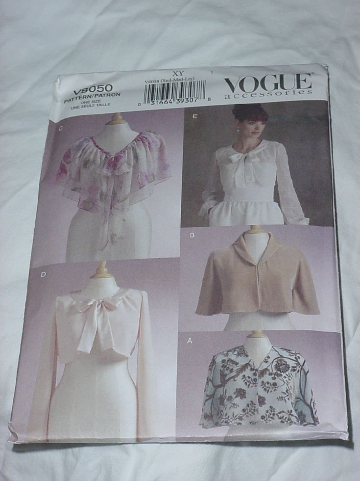 Vogue V8050 Accessories XY Sml-Med-LG Capelets Shrugs No. 185