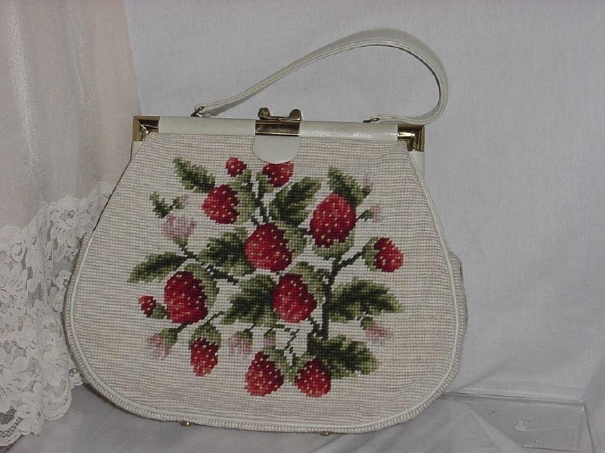 Strawberry Purse Vintage Cross Stitch Mid Century Purse   No. 147