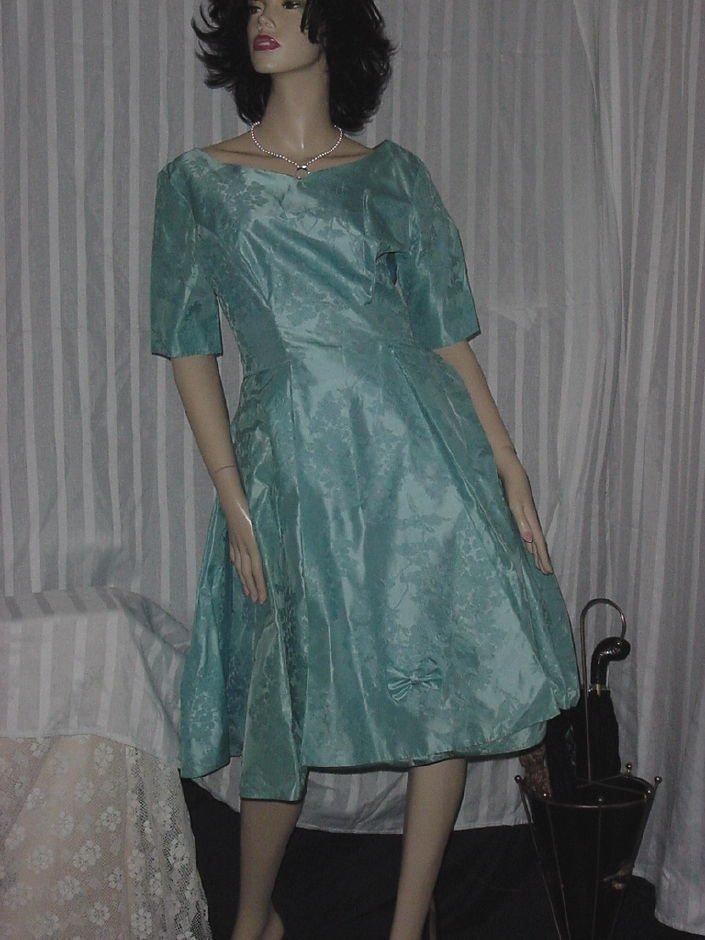 Vintage Brocade Formal Party Dress 1960s Bell Skirt Crinoline Mad Man Prom Dress  No. 188