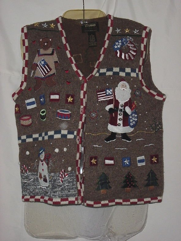 Christmas Sweater Vest Patriotic Red White Blue Small  No. 60