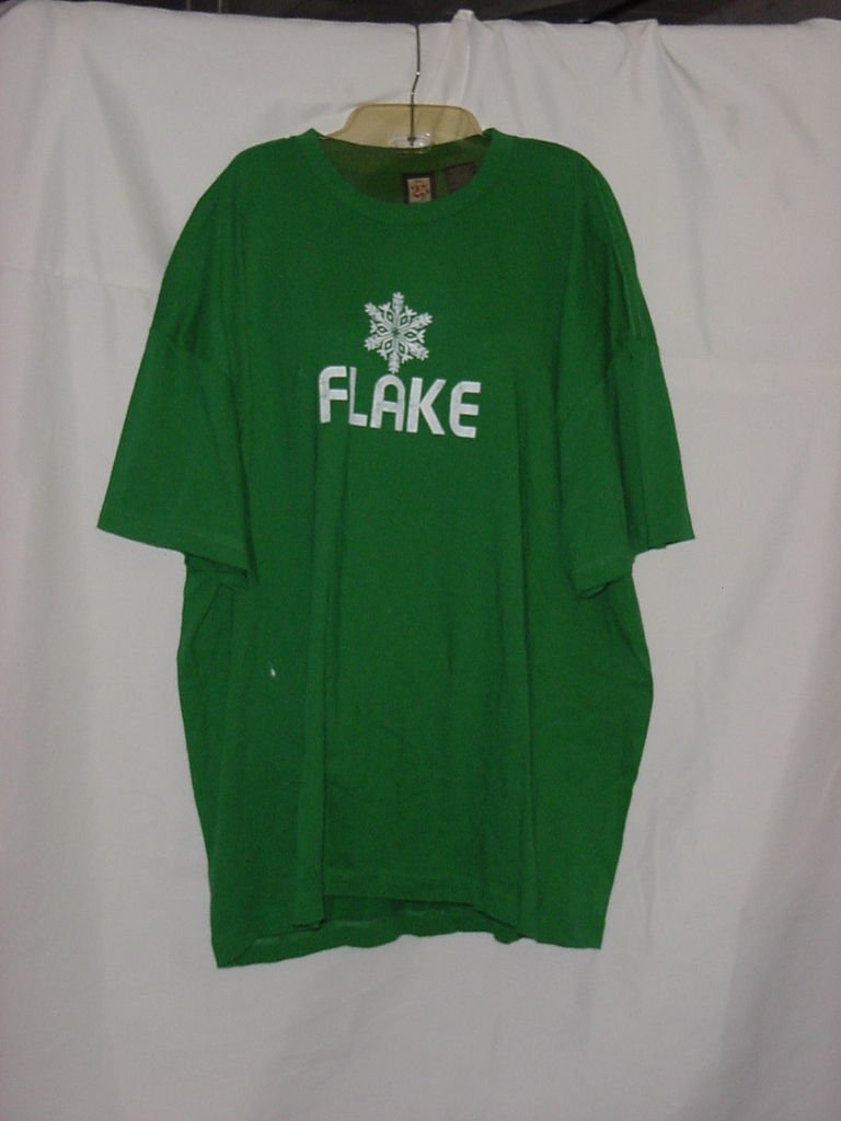 Green Cotton Winter Holiday T Shirt White Flake XXXL No. 187