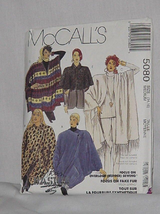 Shawl Poncho Coccon Jacket McCalls 5080 Size 14-16 Capelet No. 192